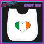 IRELAND IRISH HEART SHAPED FLAG WHITE BABY BIB PRINTED DESIGN